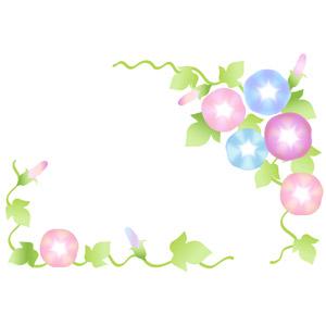 フリーイラスト, ベクター画像, AI, 背景, フレーム, 対角フレーム, 植物, 花, 朝顔(アサガオ), 夏, 蕾(つぼみ)