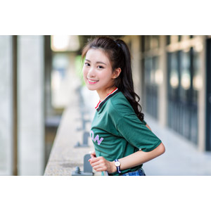 フリー写真, 人物, 女性, アジア人女性, 楚珊(00053), 中国人, Tシャツ, ポニーテール