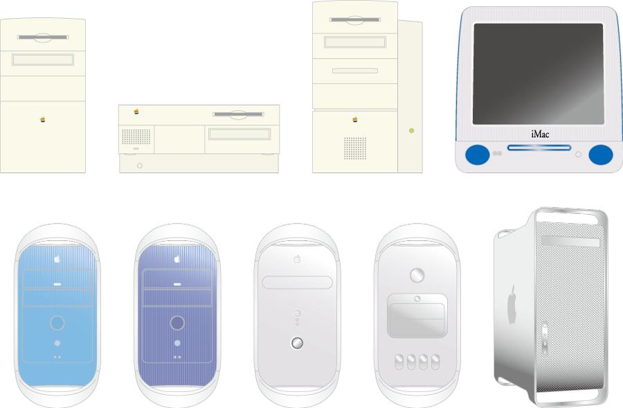 フリーイラスト iMacなどの9種類のマッキントッシュのパソコンのセット