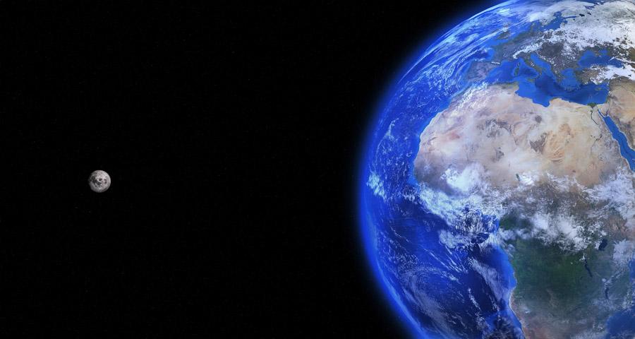 フリーイラスト 宇宙に浮かぶ地球と月