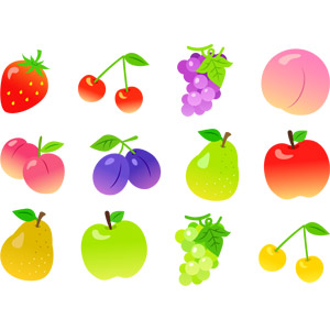 フリーイラスト, ベクター画像, EPS, 食べ物(食料), 果物(フルーツ), 苺(イチゴ), さくらんぼ(サクランボ), 葡萄(ブドウ), 桃(モモ), すもも(スモモ), プルーン, 洋なし(セイヨウナシ), リンゴ, 青リンゴ, マスカット