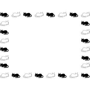 フリーイラスト, ベクター画像, EPS, 背景, フレーム, 囲みフレーム, 動物, 哺乳類, 猫(ネコ), 黒猫, 白猫