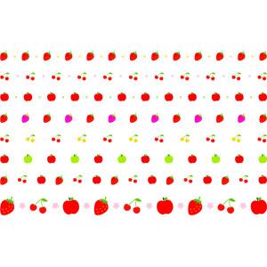 フリーイラスト, ベクター画像, EPS, 飾り罫線(ライン), 食べ物(食料), 果物(フルーツ), 苺(イチゴ), さくらんぼ(サクランボ), リンゴ, 青リンゴ