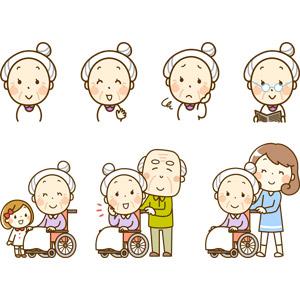 フリーイラスト, 人物, 老人, シニア女性, 祖母(おばあさん), 笑う(笑顔), 困る, 読む(読書), 新聞, 車椅子, 孫, 夫婦, 祖父(おじいさん)