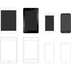 フリーイラスト, ベクター画像, AI, 家電機器, パソコン(PC), タブレットPC, スマートフォン(スマホ), iPhone, iPad, アップル(Apple), Google Nexus