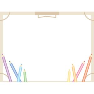 フリーイラスト, ベクター画像, EPS, 背景, フレーム, 囲みフレーム, 画材, 画板, 画用紙, 色鉛筆