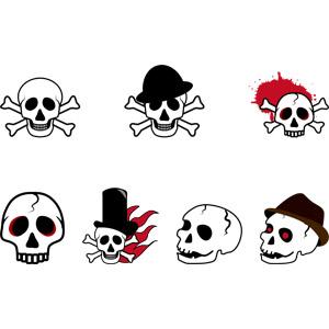 フリーイラスト, ベクター画像, AI, 人体, 頭蓋骨(髑髏), 骸骨, ドクロマーク, 海賊, 死, 血液, 帽子