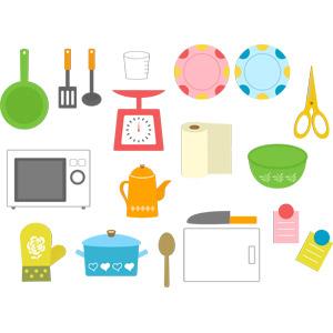 フリーイラスト, ベクター画像, AI, 調理器具, 電子レンジ, 上皿はかり, キッチンペーパー, フライ返し, お玉杓子, フライパン, 両手鍋, 鍋つかみ, 包丁, まな板, お皿, 料理ばさみ, ボウル, コーヒーポット, 計量カップ