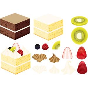 フリーイラスト, ベクター画像, EPS, 食べ物(食料), 菓子, 洋菓子, スイーツ, ケーキ, キウイ, 苺(イチゴ), ブルーベリー, ラズベリー, 生クリーム