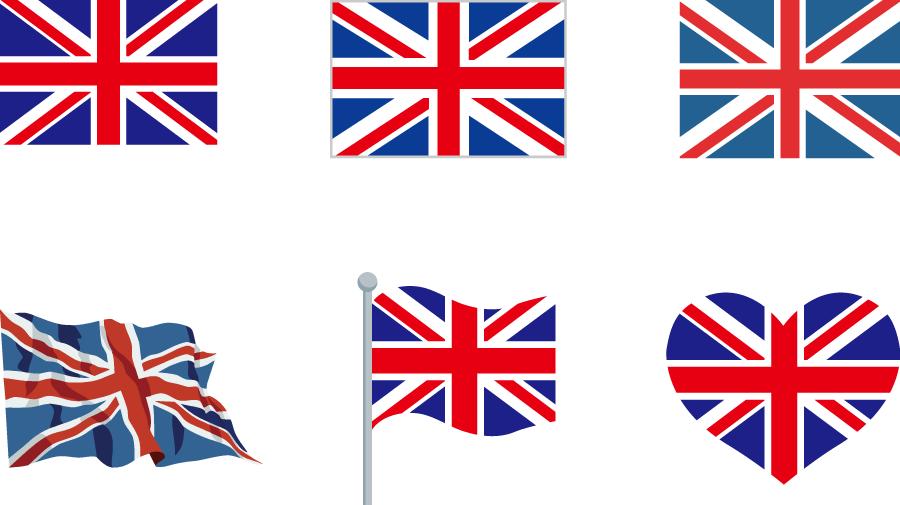 フリーイラスト 6種類のイギリスの国旗のセット