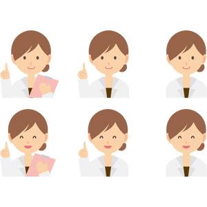 フリーイラスト, ベクター画像, AI, 人物, 女性, 仕事, 職業, 医療, 医者(医師), 女医, エステティシャン, 指差す, アドバイス, 笑う(笑顔), バインダー(クリップボード)