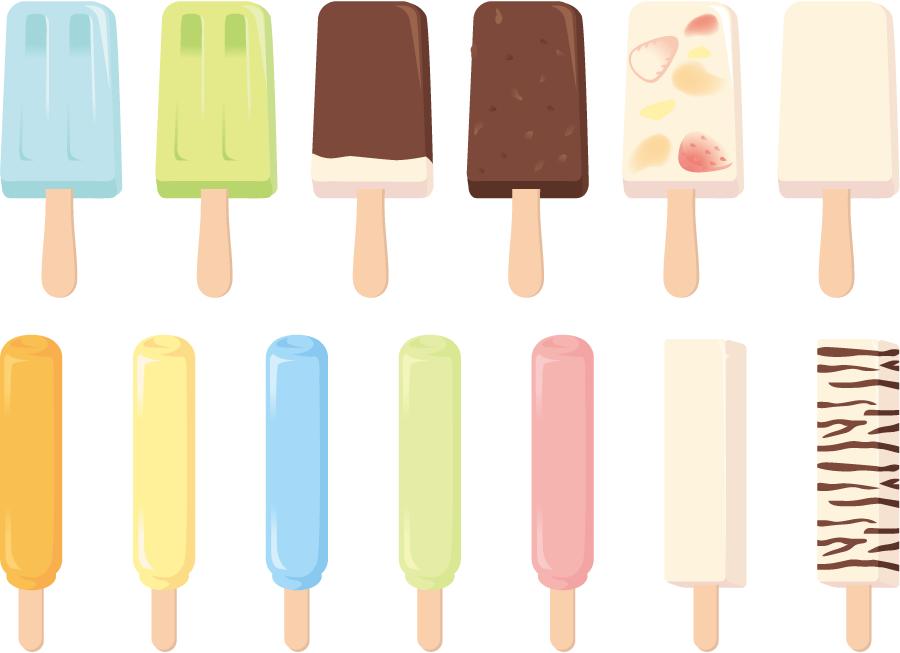フリーイラスト 13種類のアイスキャンディーのセット
