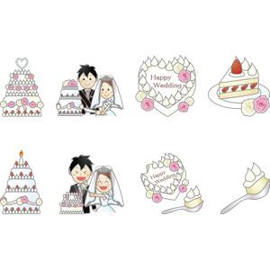 フリーイラスト, ベクター画像, AI, 結婚式(ブライダル), ウェディングケーキ, ケーキ入刀, 花婿(新郎), 花嫁(新婦), 食べ物(食料), 菓子, 洋菓子, スイーツ, ケーキ