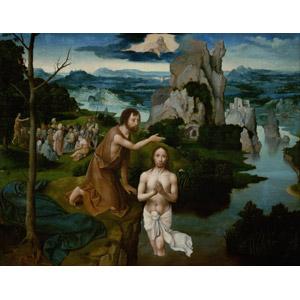 フリー絵画, ヨアヒム・パティニール, 宗教画, キリスト教, 新約聖書, 洗礼, イエス・キリスト, 洗礼者ヨハネ, 手を合わす, 白い鳩