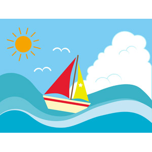 フリーイラスト, ベクター画像, EPS, 背景, 海, 波, 乗り物, 船, ヨット, 夏, 太陽, 積乱雲(入道雲)