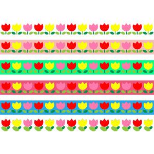 フリーイラスト, ベクター画像, EPS, 飾り罫線(ライン), 植物, 花, チューリップ