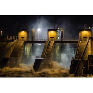 フリー写真, 風景, 建造物, 水門, 夜, 河川