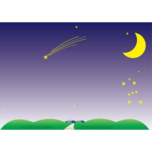 フリーイラスト, ベクター画像, AI, 背景, 夜, 夜空, 月, 三日月, 星(スター), オリオン座, 流れ星(流星)