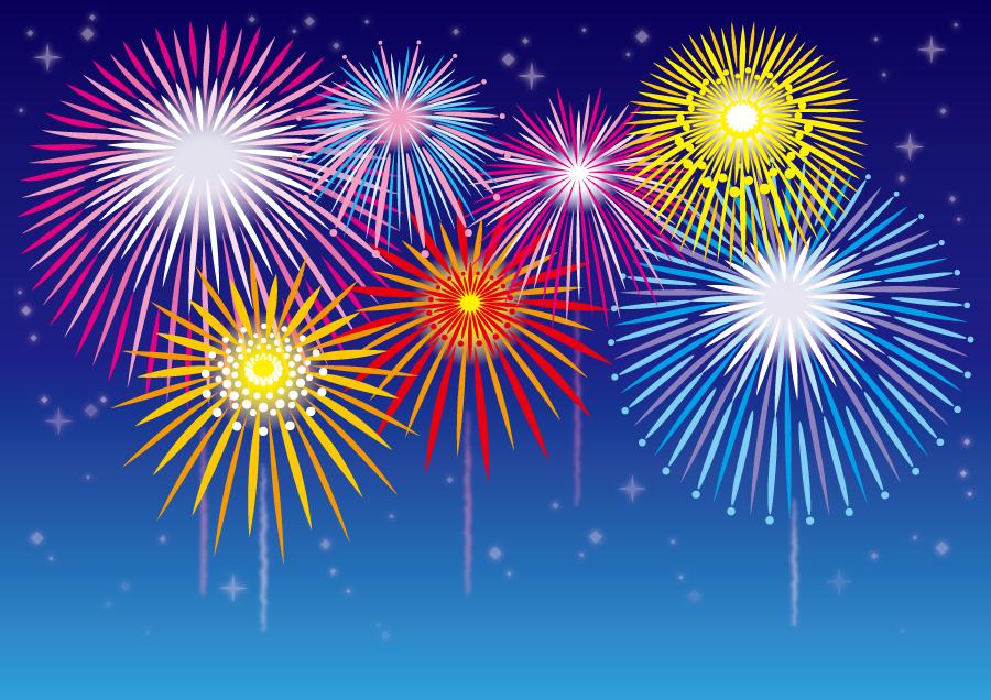 フリーイラスト 星と打ち上げ花火の背景