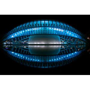 フリー写真, 風景, 建造物, 建築物, 芸術科学都市, レミスフェリック, プラネタリウム, 夜, 夜景, スペインの風景, バレンシア