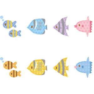 フリーイラスト, ベクター画像, AI, アップリケ(ワッペン), 動物, 魚類, 魚(サカナ), 熱帯魚, マンボウ