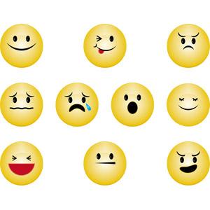 フリーイラスト, ベクター画像, AI, 顔文字, シンボル, 顔, ウインク, 怒る, 困る, 泣く(泣き顔), 驚く, 目を閉じる, 笑う(笑顔), 悪巧み
