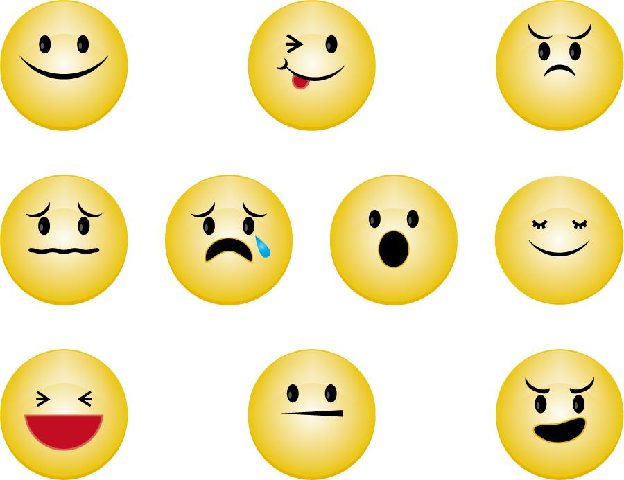 フリーイラスト 怒る、泣くなどの10種類の顔文字のセット
