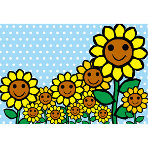 フリーイラスト, ベクター画像, EPS, 背景, 植物, 花, 向日葵(ヒマワリ), 黄色の花, 水玉模様(ドット柄), 夏