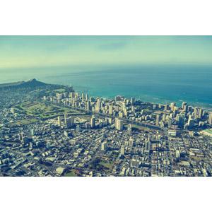 フリー写真, 風景, 建造物, 建築物, 高層ビル, 都市, 街並み(町並み), 海, 航空写真