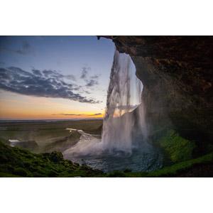 フリー写真, 風景, 自然, 滝, セリャラントスフォス, アイスランドの風景, 夕暮れ(夕方), 夕焼け