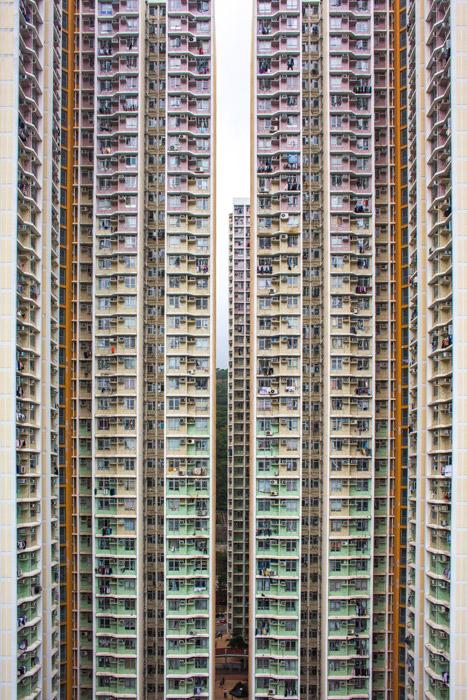 フリー写真 香港の超高層マンションの風景