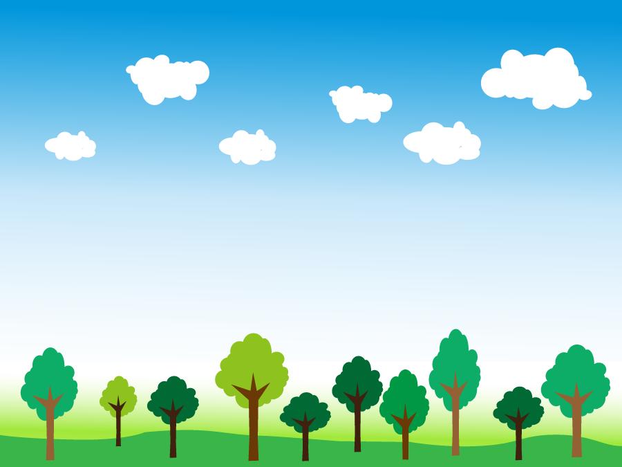 フリーイラスト 青空と木々の風景