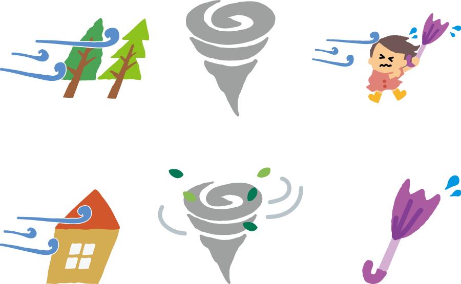 フリーイラスト 6種類の竜巻と強風被害のセット