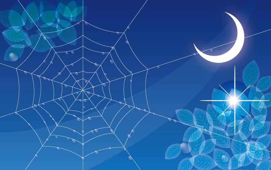 フリーイラスト 水滴の付いた蜘蛛の巣と三日月の背景
