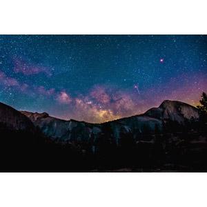 フリー写真, 風景, 自然, 山, 岩山, 夜空, 夜, 星(スター), 天の川