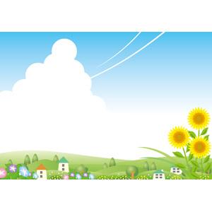 フリーイラスト, ベクター画像, EPS, 風景, 夏, 向日葵(ヒマワリ), 朝顔(アサガオ), 積乱雲(入道雲), 飛行機雲, 青空, 田舎, 村, 丘, 花