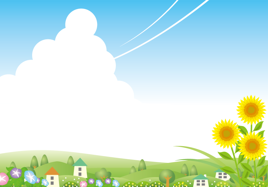 フリーイラスト ひまわりとあさがおの咲く夏の田舎の風景