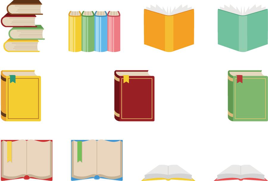 フリーイラスト 11種類の本のセット