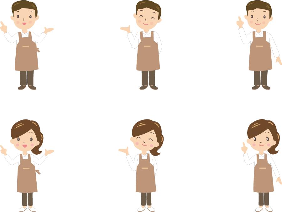 フリーイラスト 6種類の男女のカフェの店員のセット