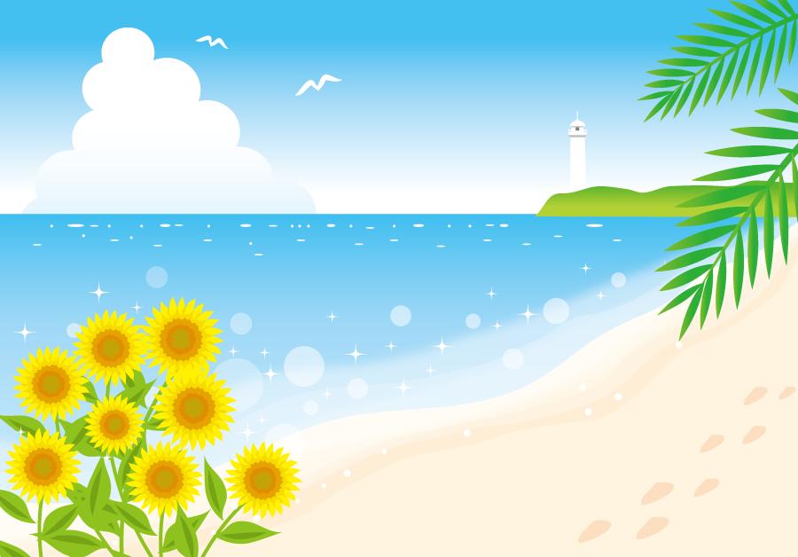 フリーイラスト ヒマワリと夏のビーチの風景