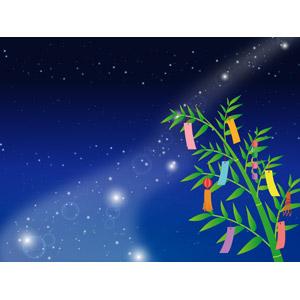 フリーイラスト, ベクター画像, AI, 背景, 年中行事, 七夕, 7月, 笹飾り, 短冊, 夜空, 夜, 星(スター), 天の川