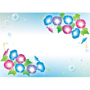 フリーイラスト, ベクター画像, EPS, 背景, フレーム, 対角フレーム, 植物, 花, 朝顔(アサガオ), 水滴(雫), 夏