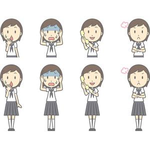 フリーイラスト, ベクター画像, AI, 人物, 少女, 少女(00247), 学生(生徒), 中学生, 学生服, セーラー服(学生服), 失敗, 気付く, 頭を抱える, 青ざめる, 冷や汗をかく, 固定電話, 通話, 怒る, 腕を組む, 忘れ物