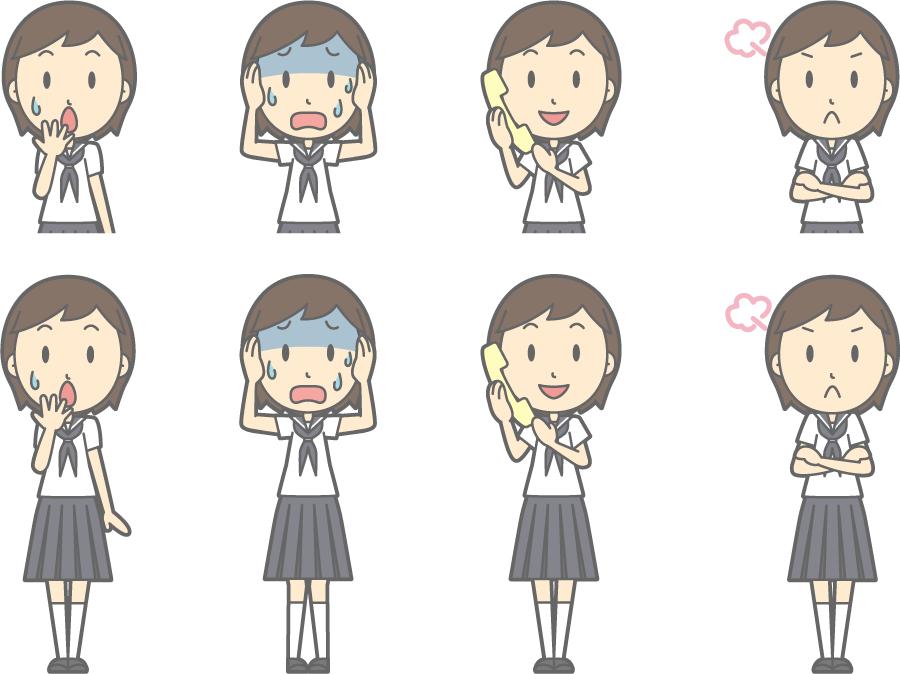 フリーイラスト 頭を抱えるなどの8種類の夏服の女子中学生のセット