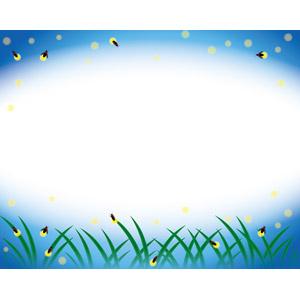 フリーイラスト, ベクター画像, AI, 背景, フレーム, 円形フレーム, 動物, 昆虫, 蛍(ホタル), 夏