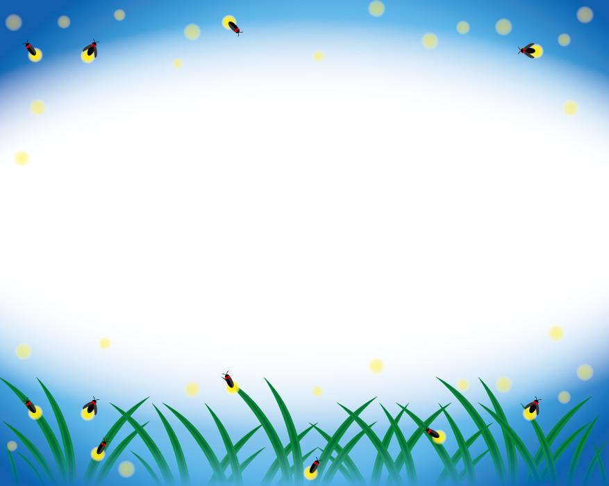 フリーイラスト 光を放つホタルのフレーム