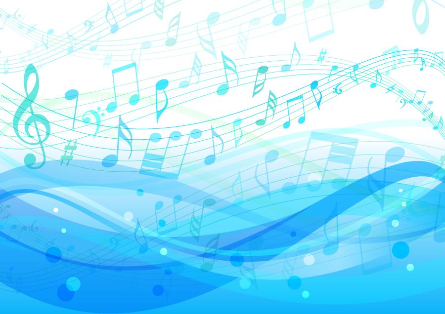 フリーイラスト 海の波と楽譜の背景