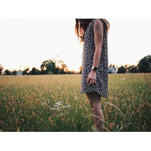 フリー写真, 人物, 女性, 外国人女性, 人と風景, 草原, 牧草地, 人と花, 白色の花, ワンピース, 人と風景