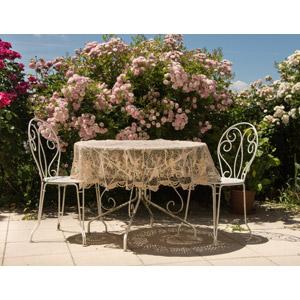 フリー写真, 風景, 植物, 花, 庭, 食卓(テーブル), 椅子(イス)