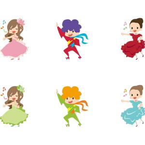 フリーイラスト, ベクター画像, AI, 人物, 女性, 男性, 仕事, 職業, 歌手, 歌う, 音楽, アイドル, 踊る(ダンス), 踊り子(ダンサー), フラメンコ